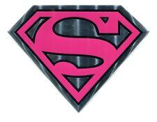 SUPERGIRL Pink & Chrome Metallic STICKER DC Comics metal s emblem decal Superman