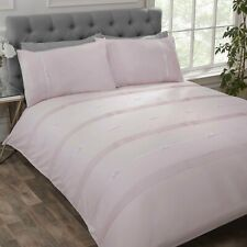 """Rapport """"Clarissa"""" Pintuck And Ribbon Bow Duvet Cover Bedding Set White Or Blush"""