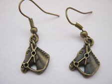 "Bronze Horse Earrings 15mm (5/8"") Equestrian Drop Earrings Girls Stocking Filler"