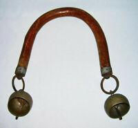 Vintage Handmade Wooden Arched GOAT YOKE SHOULDER FRAME w/End Tip Brass BELLS