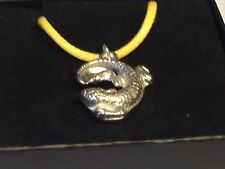 """Lizard TG311 English Pewter On 18"""" Yellow Cord Necklace"""