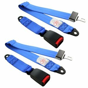 2PC Fit MG 2 Point Harness Safety Seat Belt Adjustable Blue Car Truck Universal