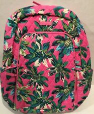 VERA BRADLEY Laptop Backpack Tropical Paradise Pattern Cotton Quilted NEW 14417