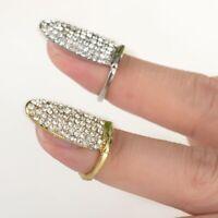 Nagel Ring Fingerspitzenring Fingernagelring Nagelschmuck Strass Gold Silber
