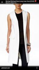Michael Kors White Linen Lined Sleeveless Duster Jacket/ Vest NWT $168.