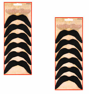 Fake Mustache Black Mexican 70's Stick on Self Adhesive tash