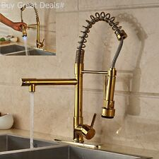 Gold Plated Kitchen Swivel Spout Single Handle Sink Faucet Pull Down Spray New