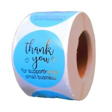 100 Pcs Thank You Stickers 15 Turquoise Blue Support Small Business Labels