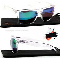 Große Sonnenbrille Transparent Grün Blau Verspiegelt Nerd Rechteckig Big XL T2