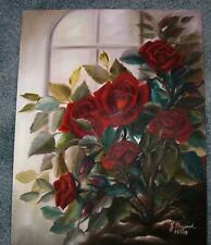 RED ROSES CLIMBING BUSH ROSES BOTANICAL HORTICULTURE NATURE FLOWER OIL PAINTING