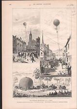 Hot Air Balloon Aérostat BALLON MILTAIRE ARMÉE  1886 GRAVURE ANTIQUE PRINT