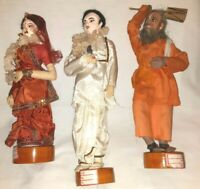 Lot of 3 Vintage Handmade Dolls on Wood Stand ~ Made in India (PB)