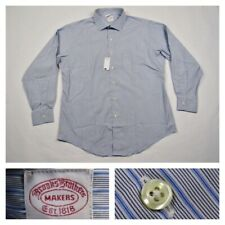 Brooks Brothers Makers Mens Blue 16.5 Striped Button Front Long Sleeve Shirt New