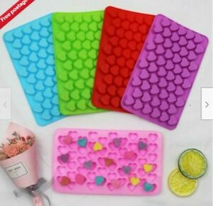 Silicone Candle Chocolate 55 Wax Mold Mini Jelly Hearts Ice Pink Melts Mould UK