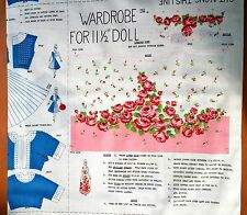 "Barbie 11-12"" Doll Clothes Fabric Panel Uncut Cut & Sew Wardrobe Vintage Fashion"