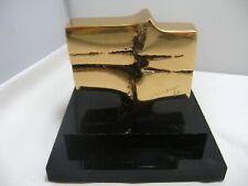 MAY MARX  Abstract Bronze Sculpture Black Plexiglas Base Canada 1980s