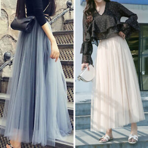 Women Elegant Mesh Tulle Tutu Skirt Layered Pleated Party Ladies Maxi Long Dress