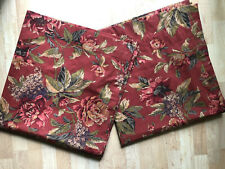 """PAIR Croscill Serena Floral Red 40""""x88"""" Lined Curtain Drapery Panels"""