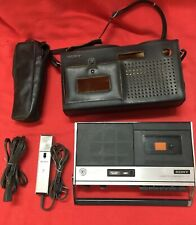 Vintage Sony Cassette Recorder Tc 140 & Carrying Case Rare Rechargeable Battery