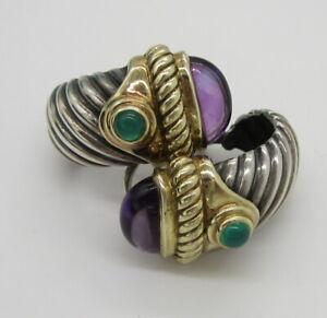 David Yurman Sterling Silver 14K Gold Amethyst Emerald Renaissance Earrings