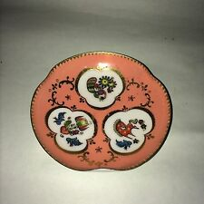 Small Peach Colored Enamel Cloisonne Metal Plate Peacock Horse Bird 4""