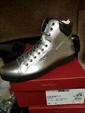 NIB SALVATORE FERRAGAMO Shoe Stephen 2 Silver Metallic Sneakers Shoes Size 10 D