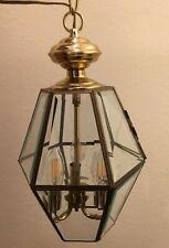 "Brass, Beveled Glass Chandelier Hanging Foyer Lamp, Lantern, Lighting 16"" by 9"""