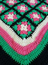 Handmade Knit Granny Square Afghan Pink Green Black Cream Multi Color Blanket
