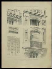PARIS, 270 BOULEVARD RASPAIL - PLANCHE 1905 - ART NOUVEAU, BRUNEAU