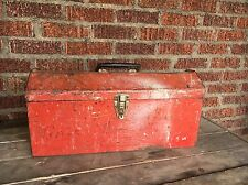 Vintage TOOL BOX Old Red Carrier Antique Rusty Paint Art Artist Bin Storage Tool