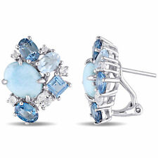 Amour Sterling Silver Larimar, London, Sky Blue and White Topaz Cluster Earrings