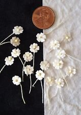 100 White Flowers Handmade Mulberry Paper Doll hats Miniatures wedding Embellish