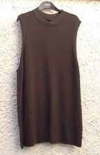 M&S Collection Khaki Green Sleeveless Long Length Jumper Top Size 24 BNWT