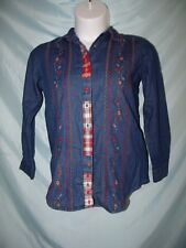Bobbie Brooks Denim Floral Embroidered Long Sleeve Cotton Button Down Shirt S