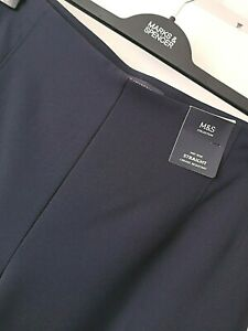 LADIES M&S SIZE 20 SHORT 28L DARK NAVY CREASE RESIST STRAIGHT STRETCH TROUSERS