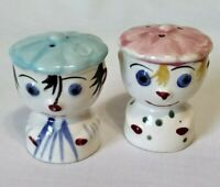 Small Vintage Hand Painted Clown Faces Flat Hats Salt and Pepper Shaker Set