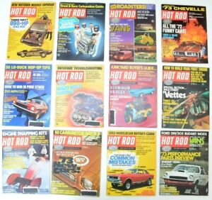 1972 Hot Rod Magazine Complete Year Lot of 12 Vintage Man Cars Full Collectible