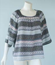 Daniel Rainn Women's Size L Black Ivory Pink Boho 3/4 Sleeve Blouse Shirt