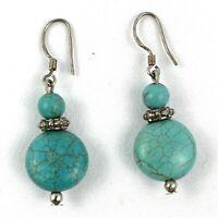 Sterling Silver 925 Vintage Turquoise Oval Drop Dangling Pierced Earrings