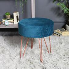 Teal blue velvet upholstered stool copper hairpin legs girly bedroom boudoir