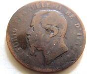 "1867-T Italian Ten (10) Centesimi ""Vittorio Emanuele ll"" Coin"
