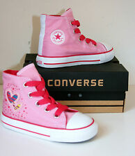 Kid Toddler Girl CONVERSE All Star PINK HEART HI TOP Trainers Boots 25 SIZE UK 9