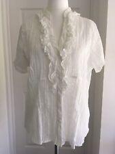 MODA Crinkle Cotton White Short Sleeve Ruffle Blouse Sheer Animal Print UK20