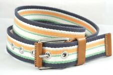 EDDIE BAUER Canvas Belt Leather Striped Blue Green Orange White Grey