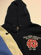 RALPH LAUREN POLO JEANS CO FULL ZIP PERIWINKLE CREAM NAVY STRIPED HOODIE SIZE XL