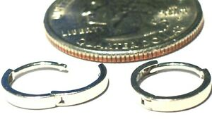 14kt Solid White Gold Small 2MM X 11MM Huggie Earrings.Gift Box -FREE SHIPPING!