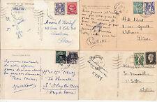 Lot 4 cartes postales timbrées timbres libération 1944 croix de lorraine 1