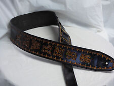 "Leather guitar strap custom hand made tooled and dyed  ""Borders""  black letter"