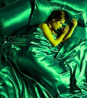 6 Pcs Satin Complete Bedding Sets Duvet Cover Set With 4 Pillow Cases GREEN