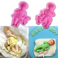 3D Sleeping Baby Silicone Fondant Mould Cake Decorating Chocolate Baking Tool DB